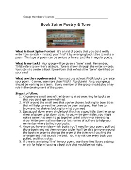 Exploring TONE through BOOK SPINE POETRY