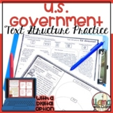 U.S. Government Text Structure Worksheets
