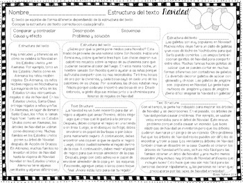Christmas Text Structure Practice in English & Spanish