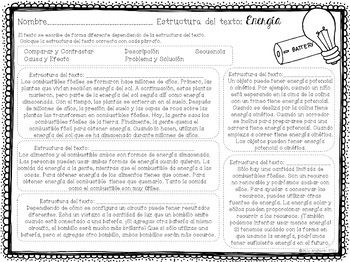 Exploring Text Structure with Energy (English & Spanish edition)