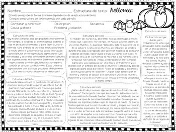 Exploring Text Structure with Halloween (English & Spanish edition)