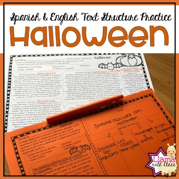 Halloween Text Structure Practice in English & Spanish