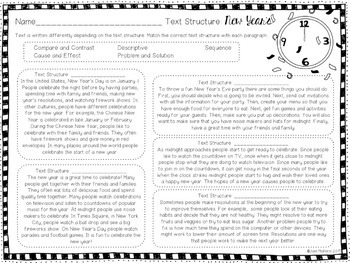 New Year's Text Structure Practice in English and Spanish
