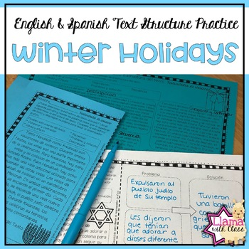 Winter Holidays Text Structure Practice in English & Spanish