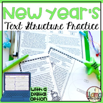 New Year's Text Structure Worksheets