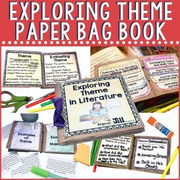 Need a fun hands project for your students' ELA block to practice theme? Look no further. This paper bag mini book project hits all of the teaching points for theme and compares it to main idea. It can be used as a work station, in interactive notebooks, or as an at home project. Students write in detail about the difference between theme and main idea, sort examples, work on guiding questions and explore theme in multiple texts, and explain their learning. Use as guided practice or as an assessment.