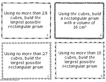 Exploring Volume with Cubes Task Cards 4th & 5th Grade
