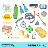 Exploring and Adventure - Doodle Clipart - Transparent PNGs