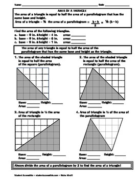 Exploring the Area of Triangles Worksheet