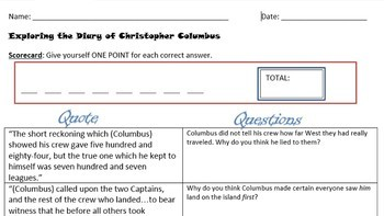 Exploring the Diary of Christopher Columbus