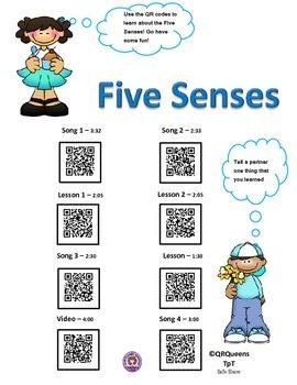 The Five Senses using QR Codes Listening Center