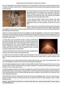 Exploring the Red Planet with the Mars Rovers - Reading Comprehension text