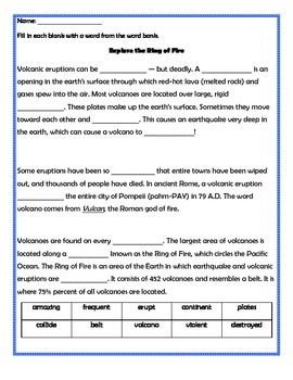 Exploring the Ring of Fire Passage and Questions Set