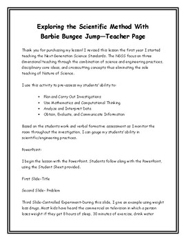 Exploring the Scientific Method with Barbie Bungee Jump Teacher/Student Page
