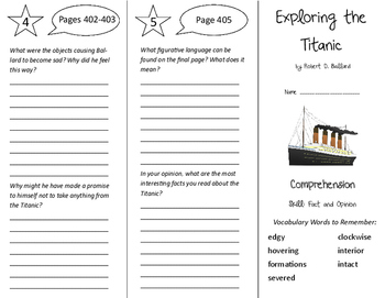 Exploring the Titanic Trifold - Treasures 6th Grade Unit 4 Week 2