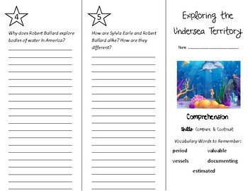 Exploring the Undersea Territory Trifold - Treasures 4th Grade Unit 5 Week 3