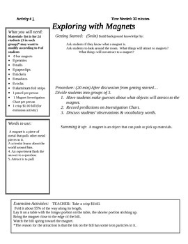 Exploring with Magnets Science Unit with lesson plans and worksheets