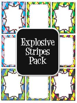 Commercial Use Digital Paper- Explosive Stripes (includes title pages)