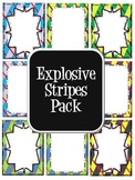Commercial Use Digital Paper- Explosive Stripes (includes