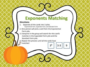 Exponent 3-Way Matching Cards