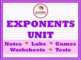 Exponent Algebra Bundle of Notes, Games, & Activities