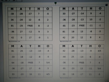 Integer BINGO Game for Pre-Algebra & Algebra I