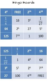 Exponent Bingo Game
