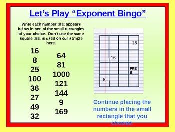Exponent Bingo Powerpoint Presentation