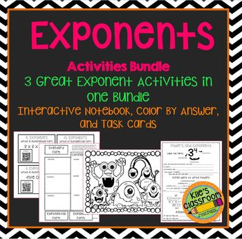 Exponent Bundle - Interactive Note Book, Task Cards, Color By Answer