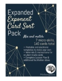 Exponent Card Sort Pack (Mix & Match Materials, Template & Lesson Plan)