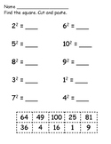 Exponent Cut and Paste Worksheet
