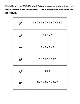 Exponent Cut and Sort Practice