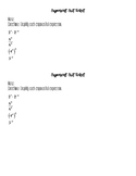 Exponent Rules Exit Ticket