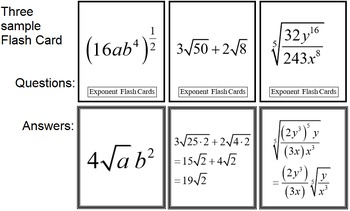 Exponent Flash Cards (Alg 2)