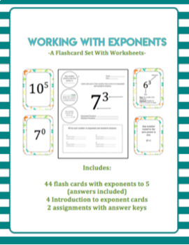 Exponent Flashcards with TWO Assignments
