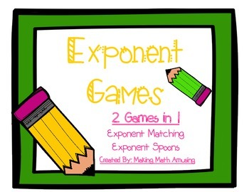 Exponent Games: Practicing Exponents in a Fun Way!
