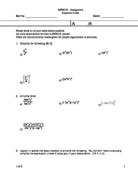 Exponent Laws Assignment (two versions)