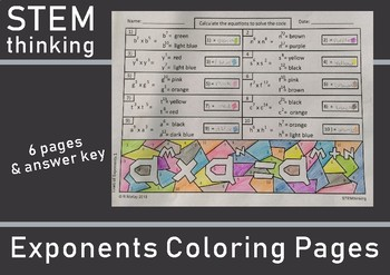Exponent Laws Color by Number Coloring Pages Test Prep Pre Calculus