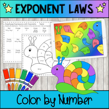 Color by Number Snail - Exponent Laws