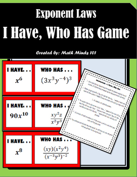 Exponent Laws - I Have, Who Has Game