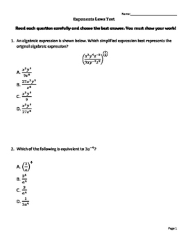Exponent Laws Test