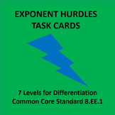 Exponent Rules Practice Hurdles 8.EE.1 Differentiation {Task Card Version}