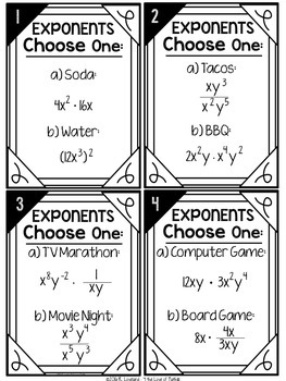 Exponent Operations: Choose One