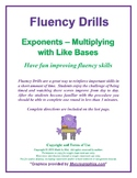 Exponent Operations Fluency Drills - Multiplying with Like