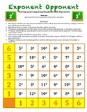 Exponent Opponent -A Game to Practice Solving & Comparing Numbers with Exponents
