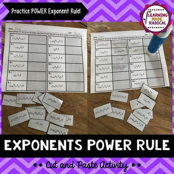 Exponent Power Rule Cut and Paste Activity