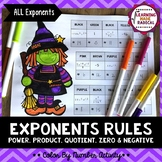 Halloween Exponent Rule (ALL) Color By Number Activity