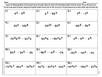 Exponent Product Rule Color By Number Activity