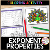 Exponent Rules / Laws of Exponents Coloring Activity