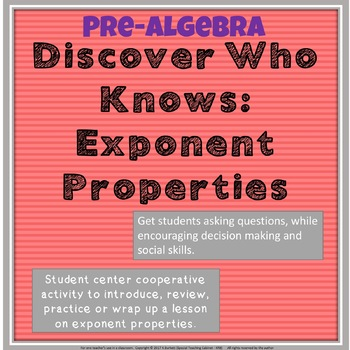 Exponent Properties: Discover Who Knows Cooperative Activity